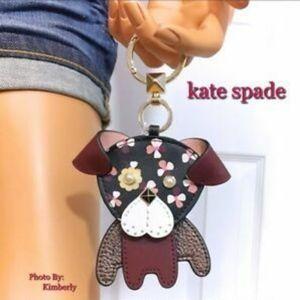 KATE SPADE ♠️ FLORAL PUP 🐶 KEY FOB/Dust Bag